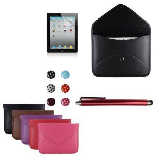 Skque® Black Leather Sleeve Carrying Case with Envelope style + Clear Screen Protector + Capacitive Stylus Pen + iPhone iPad iPod Home Button Sticker for Apple iPad 2 / iPad 3 / iPad 4 with Retina Display Computers & Accessories
