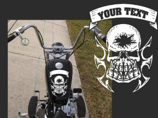 "Motorcycle Skull with Custom Text Top Gas Tank Decal Harley 10""x8"""