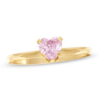 Childs 4.0mm Heart Shaped Pink Cubic Zirconia Ring in 10K Gold   Size