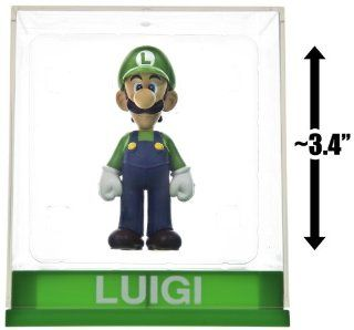 "Luigi ~3.4"" Figure + Display Case Super Mario Figurine Collection Series Toys & Games"