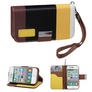 Fits Apple iPhone 4 4S Hard Plastic Snap on Cover Colorful(Yellow/Black/Brown) Premium Book Style MyJacket Wallet 851 AT&T, Verizon (does NOT fit Apple iPhone or iPhone 3G/3GS or iPhone 5) Cell Phones & Accessories