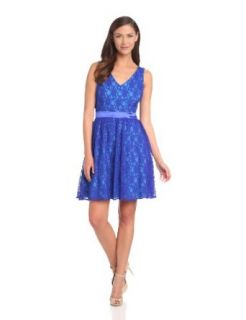 Hailey by Adrianna Papell Women's Fit and Flare Lace Cocktail Dress, Blue/Multi, 10
