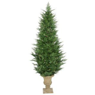 6' Pre Lit Slim Cypress Potted Christmas Tree   250 Clear Dura Lit Lights
