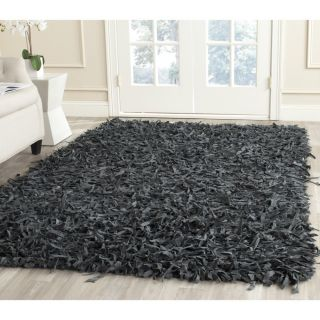 Safavieh Handmade Leather Shag Grey Leather Rug (4 X 6)