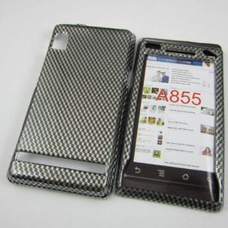 HARD PHONE CASES COVERS SKINS SNAP ON FACEPLATE PROTECTOR FOR MOTOROLA DROID 1/I A855 A854 VERIZON WIRELESS / CHECKERBOARD CARBON FIBER DESIGN (WHOLESALE PRICE) Cell Phones & Accessories