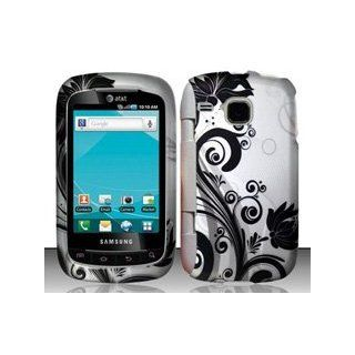 Samsung DoubleTime i857 (AT&T) Black/Silver Vines Design Hard Case Snap On Protector Cover + Free Wrist Band Cell Phones & Accessories