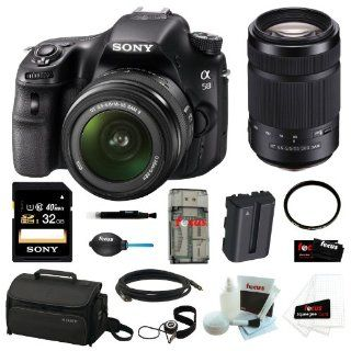 "Sony SLT A58K SLT A58 with 18 55mm Zoom Lens 20.1MP DSLR Camera w/ 2.7"" LCD Screen (Black) + Sony 55 300mm Telephoto Lens + Sony 32GB Memory Card + Sony Small System Case + Accessory Kit  Digital Camera Accessory Kits  Camera & Photo"
