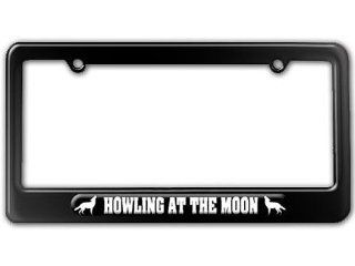 Wolf Howling At The Moon License Plate Tag Frame Automotive