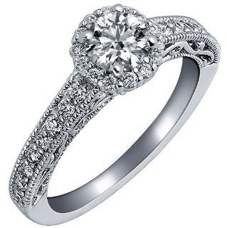 1 Carat VS 1 Clarity F Color 14k White Gold Natural Round Brilliant Cut Diamond Engagement Ring Vintage Style Jewelry