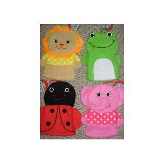 Three and One 3 Adorable Bath Animal Hand Puppet Washmitts and 1 Baby Toy Rubber Duckie Bundle with Assorted Ladybug Frog Bumblebee Lion and Elephant  Baby Washcloths  Baby