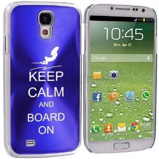 Blue Samsung Galaxy S4 S IV i9500 Aluminum Plated Hard Back Case Cover KK237 Keep Calm and Board On Wakeboard Cell Phones & Accessories