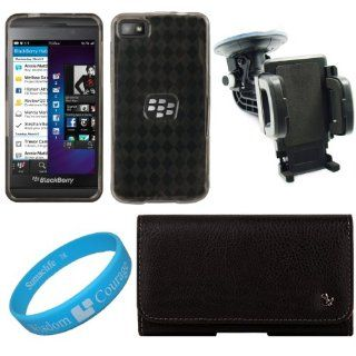 Black Textured Leatherette Horizontal Holster Pouch Carrying Case with Fixed Belt Clip for BlackBerry Z10 Smart Phone + Smoke Argyle Premium TPU Skin Cover Case + Universal Windshield Vehicle Mount + SumacLife TM Wisdom Courage Wristband Cell Phones &