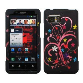 Black Pink Vine Yellow Blue Daisy Flower Red Heart Design Rubberized Snap on Hard Cover Protector Shell Skin Case for Verizon Motorola Droid Bionic XT875 + LCD Screen Guard Film + Mini Phone Stand + Case Opener Cell Phones & Accessories
