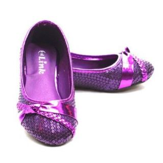 Girls Purple Sparkle Sequin Braid Bow Slip On Dress Shoes Little Girl 3 Flats Shoes Shoes