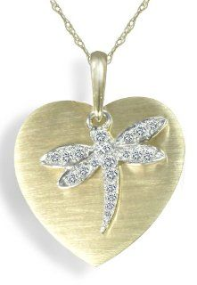 "10k Two Tone Gold Diamond Dragonfly Heart Pendant (1/10 cttw, I J Color, I2 I3 Clarity), 18"" Jewelry"