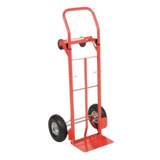"Vestil DSHT 500 PN Steel Convertible Hand Truck with Loop Handle, Pneumatic Wheels, 500 lbs Load Capacity, 49"" Height, 22"" Width X 19"" Depth Two Wheel Dolly"