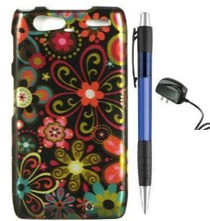 Green Daisy Flower on Black Premium Design Protector Hard Cover Case for Motorola Droid RAZR MAXX XT916 Android Smartphone (Verizon) + Luxmo Brand Travel Charger + Bonus 1 of New Rubber Grip Translucent Ball Point Pen Cell Phones & Accessories