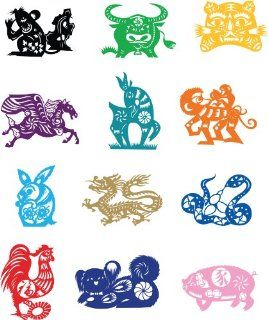 Chinese Zodiac Animals Wall Sticker Decal Silhouette Decoration   Black   Metal Monkey