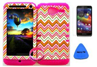 Premium Hybrid 2 in 1 Case Cover Kickstand Thin Orange Chevron Waves Pattern Design Snap on for Verizon Motorola Xt 901 Motorola Electrify M + Pink Silicone (Included Screen Protector, Isavvy Pry Tool and Wristband Exclusively By Wirelessfones TM) Cell P