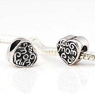.925 Silver MOM Heart Charm Bead for 3mm Cable Bracelet