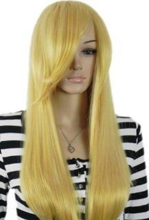 Qiyun Women'S Yellow Blonde Straight Long Ramp Bangs Synthetic Hair Full Wig Health & Personal Care