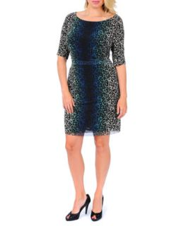 3/4 Sleeve Ruched Side Leopard Print Dress, Womens   Kay Unger New York