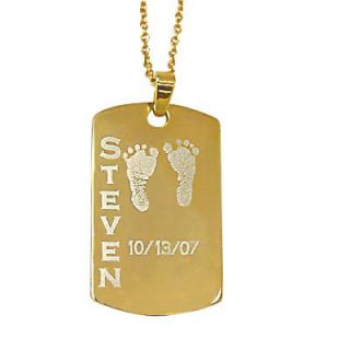 Baby Footprints Dog Tag Pendant in Sterling Silver with 24K Gold Plate