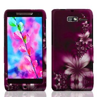 Motorola XT907 Droid Razr M Graphic Rubberized Protective Hard Case   Feather Flower Cell Phones & Accessories