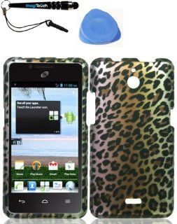 IMAGITOUCH(TM) 3 Item Combo Huawei H881c Ascend Plus Y301 Valiant Brown Leopard Snap On Hard Case Shell Cover Phone Protector Faceplate (Stylus pen, Pry Tool, Phone Cover) Cell Phones & Accessories
