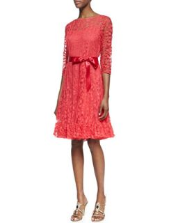 Womens 3/4 Sleeve Lace Overlay Cocktail Dress, Watermelon   Rickie Freeman for