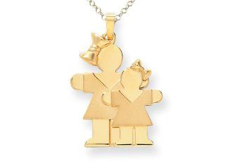 The Kids� Big Girl and Little Girl Engraveable Charm / Pendant in 14 kt Yellow Gold Finejewelers Jewelry
