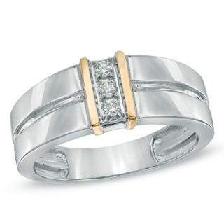 Mens Diamond Accent Linear Three Stone Ring in 10K Two Tone Gold