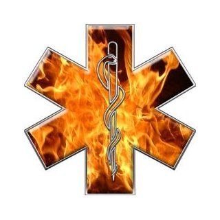 "Star of Life EMT EMS Inferno 6"" Reflective Decal Automotive"