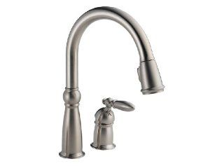 Delta Faucet 955 SSSD DST Victorian Single Handle Pull Down Kitchen Faucet with Matching Soap and Lotion Dispenser, Brilliance Stainless   Touch On Kitchen Sink Faucets