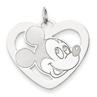 Disney Collection   .925 Sterling Silver Disney Mickey Heart Charm Jewelry