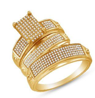 "Yellow Gold Plated 925 Sterling Silver Micro Pave Set Round Brilliant Cut Diamond Mens and Ladies Couple His & Hers Trio 3 Three Ring Bridal Matching Engagement Ring Wedding Band Set   Emerald Shape Center Setting   (.68 cttw.)   SEE ""PRODUCT DESC"