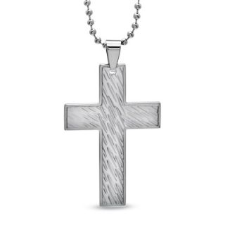 Mens Hammered Cross Pendant in Stainless Steel   Zales