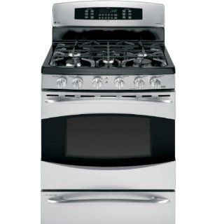 "GE P2B930SETSS Profile 30"" Stainless Steel Dual Fuel Sealed Burner Range   Convection Appliances"