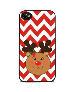 Rudolph The Red Nosed Reindeer, Christmas Chevron   iPhone 4 or 4s Cover, Cell Phone Case Cell Phones & Accessories