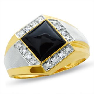 Mens Square Onyx Tilted Ring in 10K Two Tone Gold with Diamond