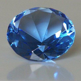 "Mother's Day Special Clear Blue Glass Crystal Diamond Shaped Paperweight 2.25""  Sports Fan Paper Weights  Sports & Outdoors"