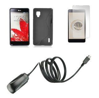LG Optimus G LS970 (Sprint) Premium Combo Pack   Black TPU Flex Gel Case + ATOM LED Keychain Light + Screen Protector + Wall Charger Cell Phones & Accessories