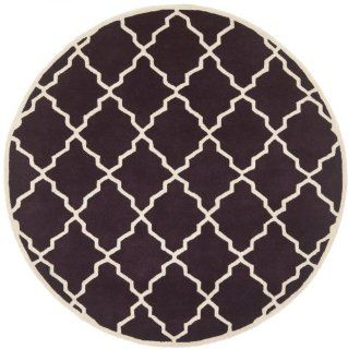 Safavieh CHT940P Chatham Collection Wool Round Handmade Area Rug, 7 Feet, Dark Purple and Ivory