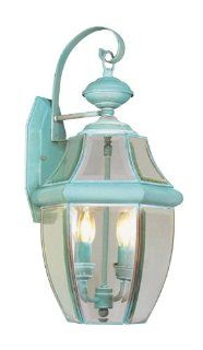 Livex Lighting 2251 06 Outdoor Wall Lantern with Clear Beveled Glass Shades, Verdigris   Wall Porch Lights