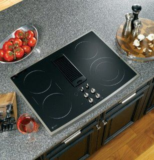 "GE PP989SNSS Profile 30"" Stainless Steel Electric Smoothtop Cooktop   Downdraft Appliances"
