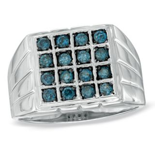 Mens 1/2 CT. T.W. Enhanced Blue Diamond Square Ring in Sterling