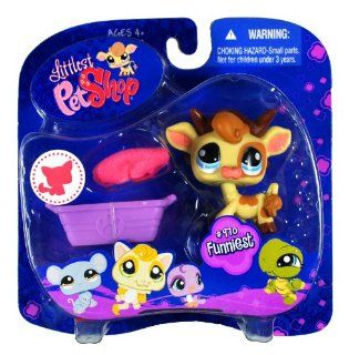 "Hasbro Year 2008 Littlest Pet Shop Portable Pets ""Funniest"" Series Collectible Bobble Head Pet Figure Set #970   Cow with Removable Horns Plus Pink Baret Hat and Purple Basket (91840) Toys & Games"