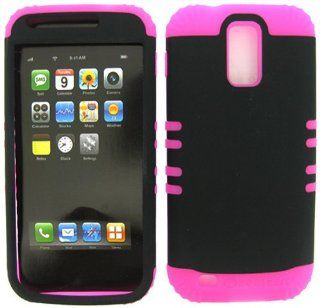 2 IN 1 Heavy Duty Hybrid Cover Case for Tmobile Hercules Samsung Galaxy S II T989   Pink Silicone / Rubberized Snap On, Black Hard Shell Protector Cover Cell Phones & Accessories