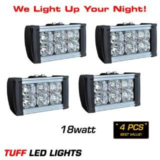 "Tuff Led Lights 4 X 6"" Inch 18 Watt Super Bright LED Light Bar 990 Lumen ATV UTV Polaris Razor Yamaha Rhino Rigid E Series Can Am Commander 4 X 4 Off Road Jeep INCLUDES> FREE UNIVERSAL WIREHARNESS WITH INLINE FUSE, RELAY, AND TUFF LED PILOT TOGGLE"