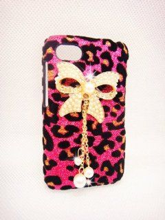 Luxury Pearl pink Leopard Crystal Diamond Rhinestones BOW bow knot Flower Transparent Back Hard Case Cover Shell for Motorola DROID RAZR XT912 Xt910 RAZR MAXX XT913 Cell Phones & Accessories